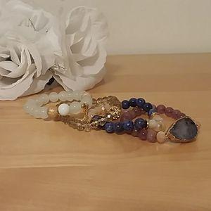 4 Piece Mixed Stone and Druzy Bracelet Set
